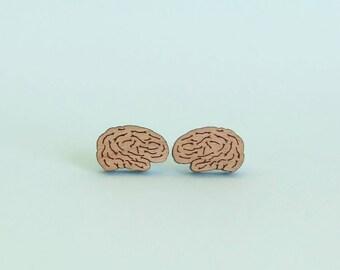 Brain Earrings Laser Cut Wood Medical Jewellery Anatomy Jewelry