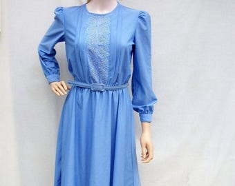 ON SALE 80s Periwinkle Blue Dress size Small Medium Sheer Cutout Bodice Pintucks
