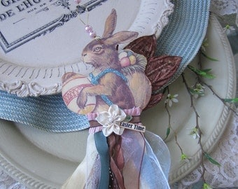 Whimsical Easter Ornament - Ribbon Ornament - Easter Bunny Decor