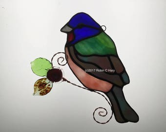 Painted Bunting Suncatcher in Stained Glass
