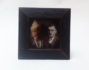 Antiheroe Frame.Wall Photo frame. Wood photo frame. Vintage photo frame. 13x13 cm photo frame.