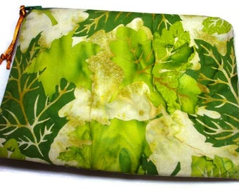 Padded Zipper Cosmetic Pouch in Green Leaves  Batik Print