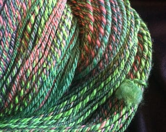 "Handspun 3 Ply Yarn, Sock Weight Yarn, ""Watermelon Spirits"" Polwarth Silk Blend 250 Yards"