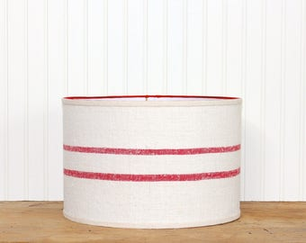 Stripe Grain Sack Drum Shade - Red Lamp Shade - Antique Grain Sack - Industrial - Farmhouse - Cottage Decor - 12x12x8 -  Rustic - Red Stripe