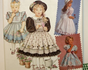 Vintage 1990s, Sewing Pattern, Daisy Kingdom, Girls' Dress and Pinafore, Child's Size 2 to 4, UNCUT, FF