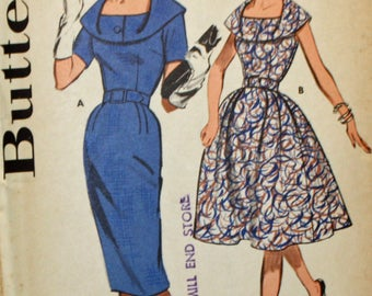 Vintage, 1960s Sewing Pattern, Butterick 9695, Misses' Dress Pattern, 2 Skirts Versions, Misses' Size 12, UNCUT, FF