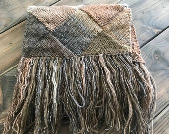 SUPER Scarf, Spring Sale, Hand knit,  extra long Starflower Scarf, Only 1 available, Brown Tan Grey, Ready to Ship -