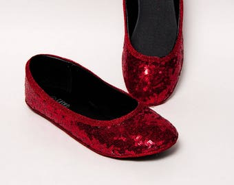 Tiny Sequin - Starlight Red Ballet Flats Slippers Shoes by Princess Pumps