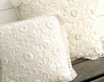 Boho Vintage Crochet Lace Throw Pillows Set of 2
