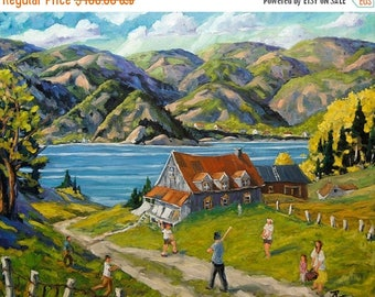 On Sale Baseball à la Charlevoix - Landscape - Large Oil Painting - 30 X 24X 1.5 - created by Prankearts