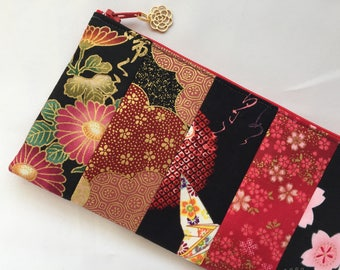 Kimono Patchwork Zipper Pouch / Cosmetic Purse - Black and Red