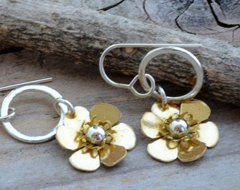 Little hammered hoop earrings small brass gold flower dangle earrings floral botanical nature mixed metal jewelry unusual artisan earrings