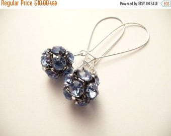 ON SALE Blue Rhinestone Earrings with Round Beads - The Mietta Blue  Earrings