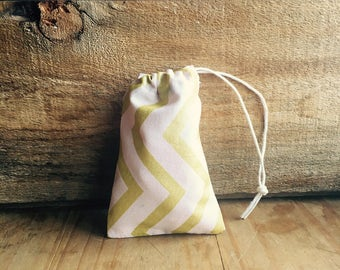 Mini Drawstring Pouch- Reusable Gift Bag - Jewelry Pouch - Gift Card Bag - Pink Gold Chevron
