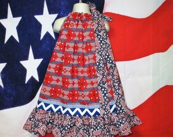 SALE Girls 4th of July Dress 4T/5 Red White Blue Stars Stripes Pillowcase Dress, Pillow Case Dress, Sundress, Boutique Dress