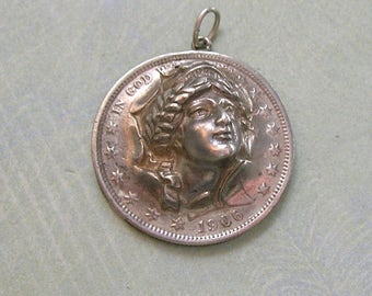 Antique Repousse 1906 Hand Crafted Coin Fob from US Silver Coins, Antique Watch Fob, Antique Coin Fob, Liberty Head Pendant (#3145)