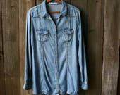 Womens Chambray Shirt Denim long Sleeve Shirt Vintage From Nowvintage on Etsy
