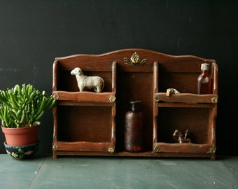 Vintage Wood Spice Shelves Spice Rack Rustic Brown Vintage From Nowvintage on Etsy