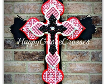 Wall CROSS - Wood Cross - Large - Black and Red, with Red and White damask and chevron design, and black iron cross