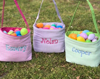 Personalized Easter Basket - Easter Bucket - Easter Gift - Camo - Polka Dot - Seersucker - Monogrammed Easter Basket - Boys - Girls