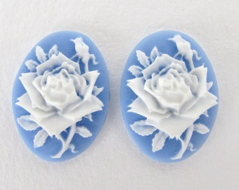 Vintage Reproduction Cameo Cabochon White Rose Flower Blue 25x18mm pcb0368 (2)