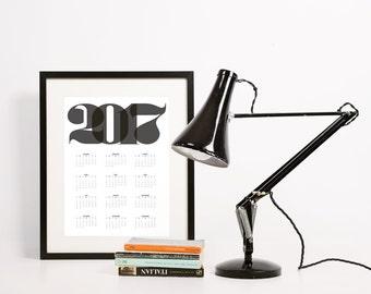 2017 Calendar • DIY Printable Poster • Simple Minimal Retro Black Bold Numbers • 4 sizes (16x20 11x17, 8.5x11 & 5x7) • English