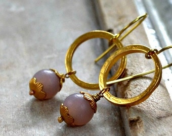 ON SALE 20% OFF golden earrings, gold plated rings, glass bead earrings, gold and lavender- Vienna