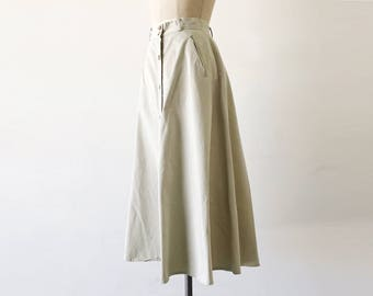 Vintage 1980s Tan Flared A Line Cotton Midi Skirt With Pockets - XS