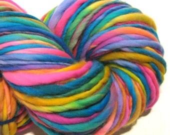Super Bulky Handspun Yarn Ferris 124 yards hand dyed merino wool neon yarn rainbow yarn knitting supplies crochet supplies