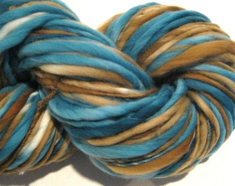 Bulky Handspun Yarn Beachcomber 108 yards hand dyed merino wool brown yarn teal yarn waldorf doll hair knitting supplies crochet supplies