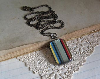 Long Necklace Vintage Ribbon Pendant Recycled Jewelry