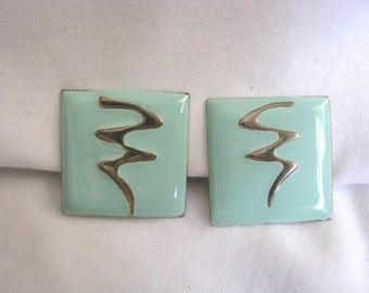 Vintage square mint green clip on clip back earrings with silver design