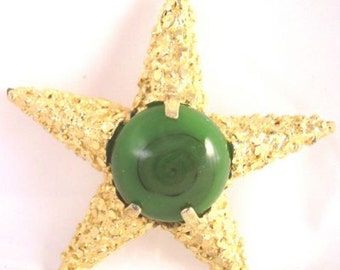BSK Green Cabochon Star Pin - Vintage
