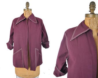 "1940s swing jacket  / merlot hollywood oversized dagger collar jacket / 40s pocket jacket .. 41"" bust"