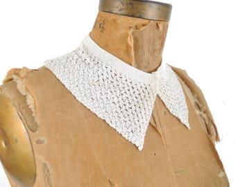 30s 40s crochet collar / white detachable pointed collar / 1930s 1940s sweater collar