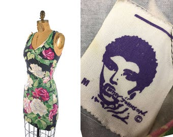80s Betsey Johnson punk label bandage dress / cabbage rose floral bodycon mini dress / 1980s designer dress ..  xs/sm