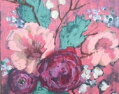 """Original Painting - Floral No. VII Coral - 8"""" x 10"""" Acrylic Painting on Hardboard"""