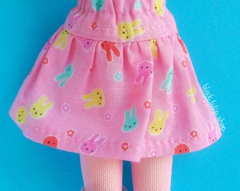 Doll Clothes Doll Skirt Clothes for Fashion Dolls Blythe Pullip Dolls Pastel Bunny Rabbits Printed Skirt for Dolls Kawaii Dolls