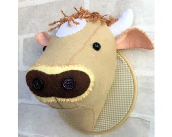 Faux Taxidermy Jersey Cow Head pattern pdf file instant download