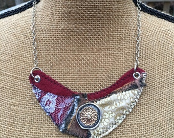 Hand Made, Gold and Brown, Fabric, Deep Red, Felt, and White Lace, Statement Necklace, Vintage Inspired on Adjustable Chain- up to 20""