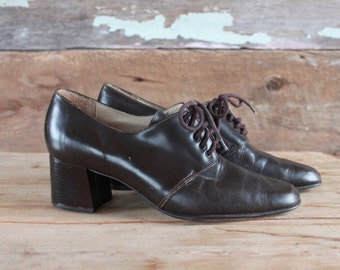 1990s lace up shoes | size 7 | 90s brown leather chunky heels | leather brogues