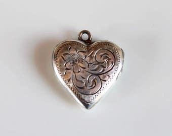vintage silver heart locket / Birks sterling silver heart shaped locket / floral engraved locket / signature locket