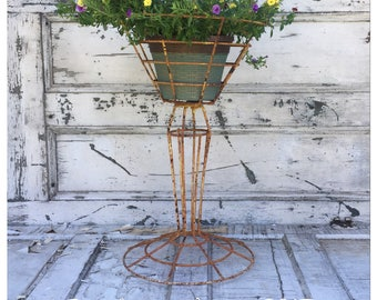 Vintage Plant Stand - Plant Stand - Pedestal  Plant Stand - Outdoor Plant Stand - Plant Holder - Metal Plant Stand - Chippy Plant Stand