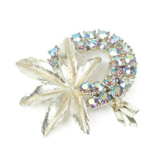 AB Rhinestone Flower Brooch Gold Tone Leaf Pin Vintage