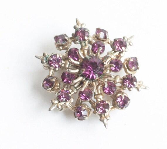Purple Rhinestone Atomic Style Pin or Pendant Layered Dimensional Smaller Vintage
