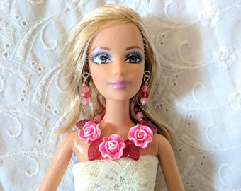 "Red and Pink Necklace, Earrings & Shoes set for 11"" Fashion Dolls Barbie etc"