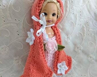 """Lovely Hand Knit Cape in Orange with White Lace & Flowers fits 4"""" Kelly Dolls  #31"""