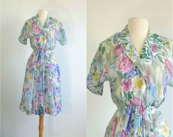 80s does 50s Sheer Floral Dress Watercolor Print - small