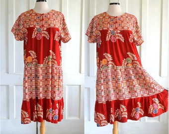 Rayon Batik Dress Festival Hippie Bohemian Dress Quilted Yoke