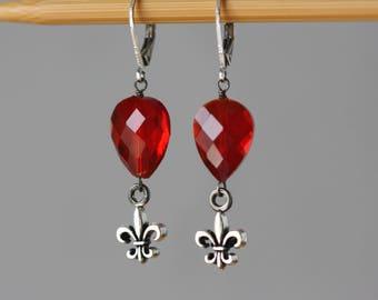 Fleur De Lis, Red Garnet Beads, Red Earrings, Birthday Gift for Wife, for Sister, for Girlfriend, Retro Trend, Victorian Style, Fleur De Liz
